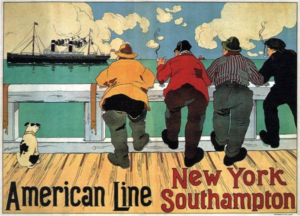 Wall Art - Painting - Four Men Smoking And Watching A Steamer Ship Sailing - Vintage Illustrated Poster - American Line by Studio Grafiikka
