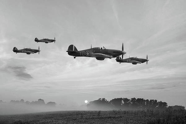 Royal Air Force Digital Art - Four Of The Few - Bw by Mark Donoghue