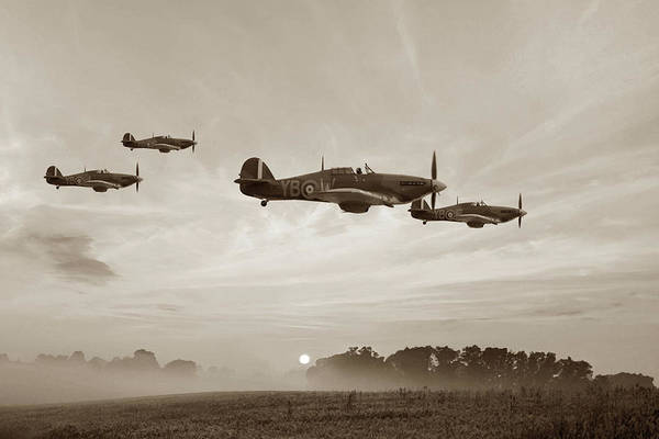 Royal Air Force Digital Art - Four Of The Few - Sepia by Mark Donoghue