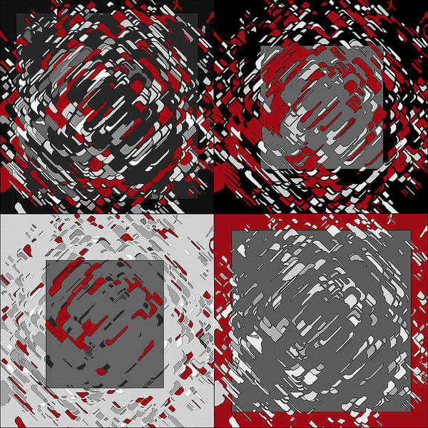 Digital Art - Four Panel Black Gray Red Abstract by Joy McKenzie