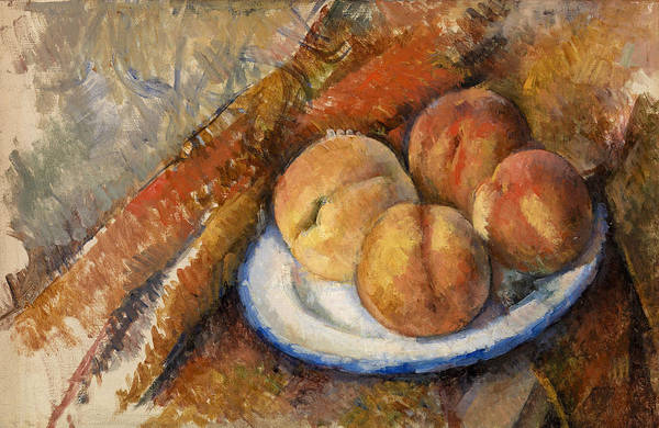 Apple Peel Wall Art - Painting - Four Peaches On A Plate by Paul Cezanne