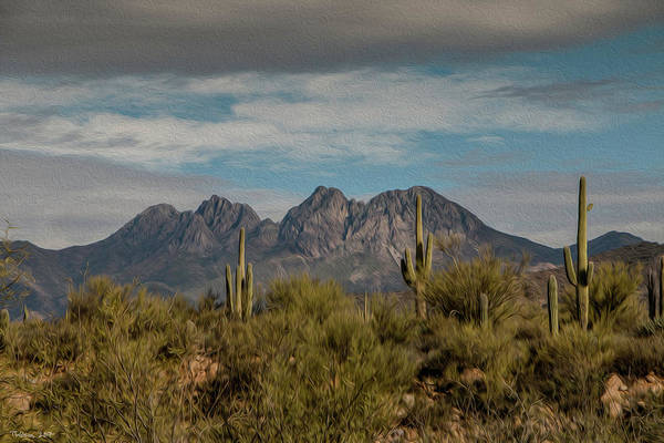 Photograph - Four Peaks Painterly by Teresa Wilson