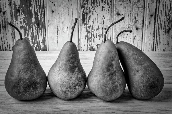 Wall Art - Photograph - Four Pears Still Life In Black And White by Garry Gay