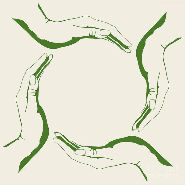 Humanity Digital Art - Four People Hands Making Circle Conceptual Round Green Eco Symbo by Oleksiy Maksymenko