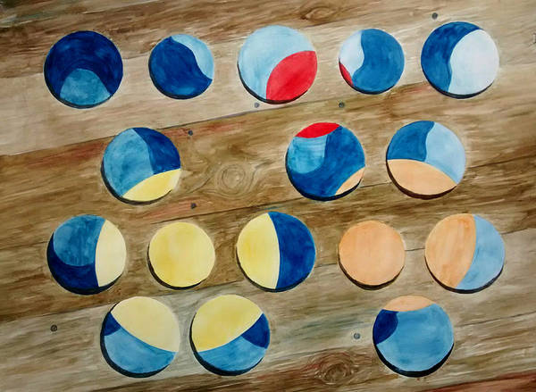 Four Rows Of Circles On Wood Art Print