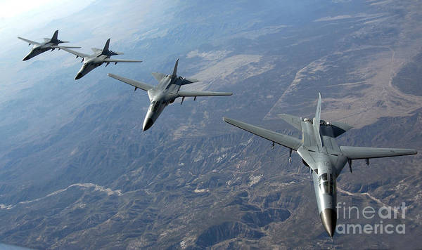 Aerial Combat Photograph - Four Royal Australian Air Force F-111 by Stocktrek Images