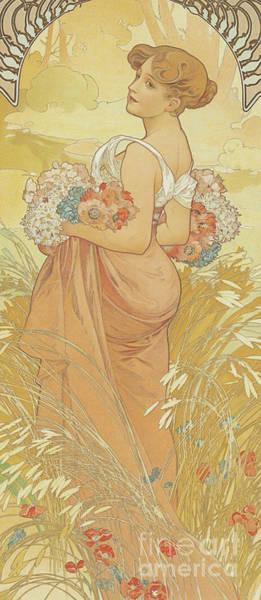 Wall Art - Painting - Four Seasons Summer, 1900 by Alphonse Marie Mucha