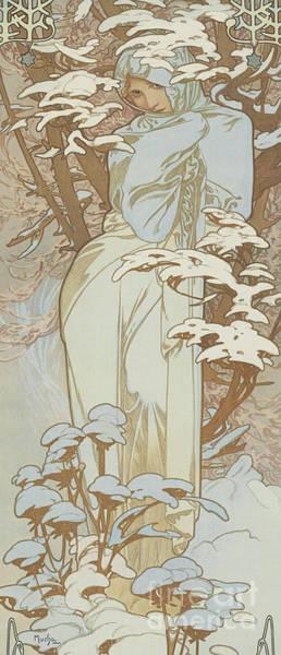 Wall Art - Painting - Four Seasons Winter, 1900 by Alphonse Marie Mucha