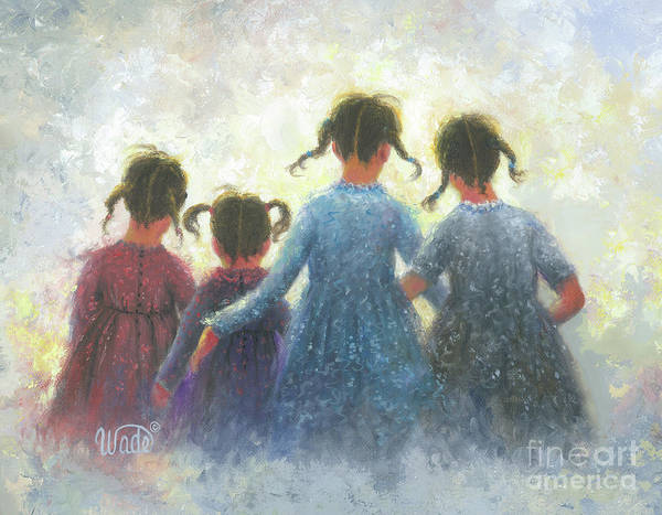 Wall Art - Painting - Four Sisters Pigtails by Vickie Wade