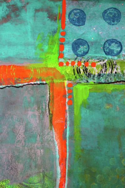Teal Mixed Media - Four Square by Nancy Merkle
