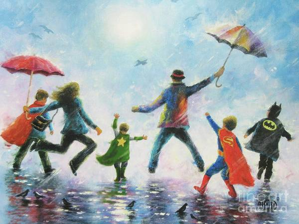 The Blues Brothers Painting - Four Super Hero Boys by Vickie Wade