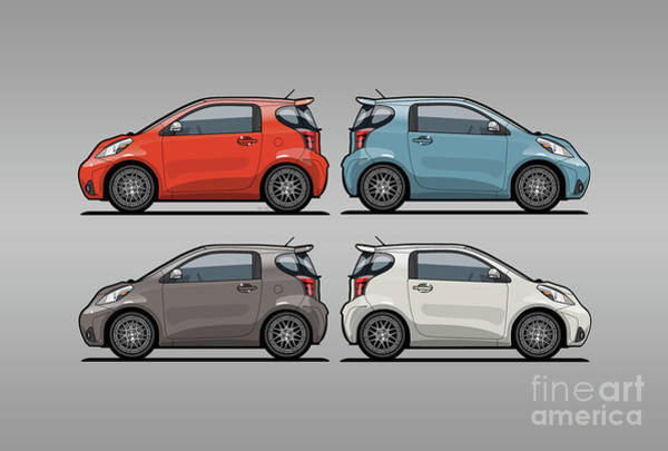 Wall Art - Digital Art - Four Toyota Scion Iq Micro Cars by Monkey Crisis On Mars