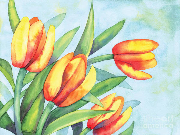 Painting - Four Tulips by Kristen Fox