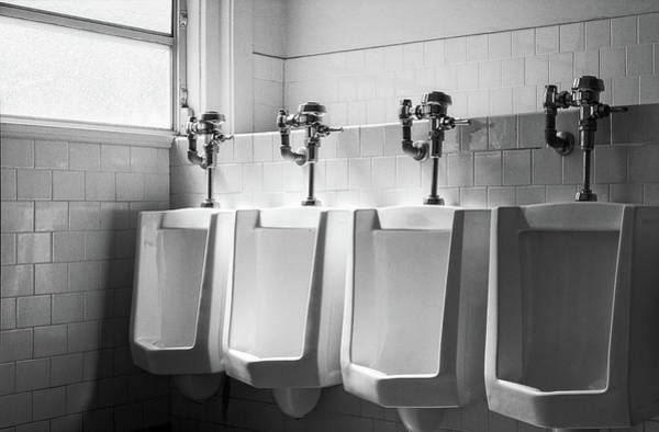 Wall Art - Photograph - Four Urinals In A Row Bw by YoPedro