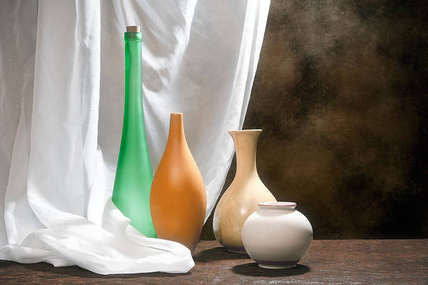 Orange Wood Photograph - Four Vases I by Tom Mc Nemar