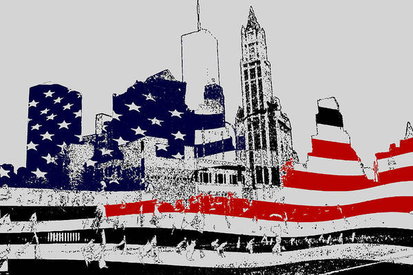 Drawing - Fourth Of July New York - Art Illustration by Peter Potter