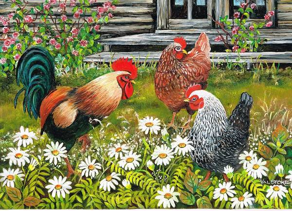 Painting - Fowl Play by Val Stokes