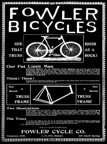 Digital Art - Fowler Bicycles In Black by Bill Cannon