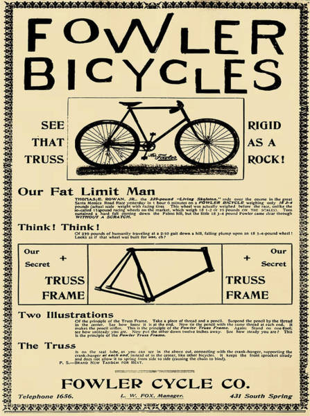Digital Art - Fowler Bicycles In Sepia by Bill Cannon