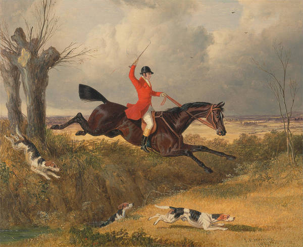 Ditch Painting - Fox Hunting Clearing Ditch by John Frederick Herring