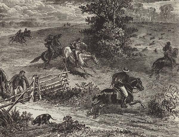 Pleasure Drawing - Fox Hunting In Virginia by George Augustus Sala