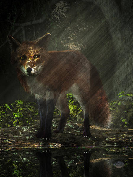Reynard Wall Art - Digital Art - Fox In The Deep Forest by Daniel Eskridge