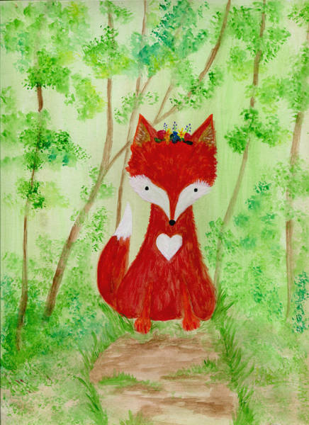 Woodland Animals Mixed Media - Fox In The Woods by Annica Johnson