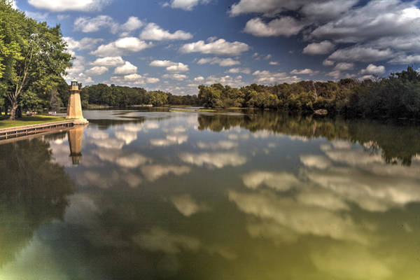 Fox River Lighthouse Geneva Illinois Art Print