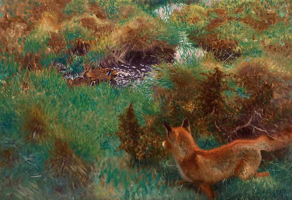 Swedish Painters Wall Art - Painting - Fox Stalking Wild Ducks by Bruno Liljefors
