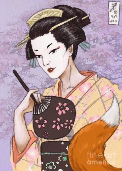 Yukata Digital Art - Fox Tail by Brandy Woods