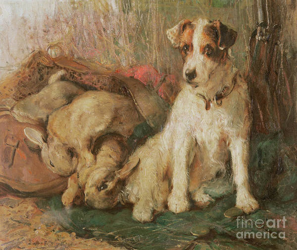 Doggy Wall Art - Painting - Fox Terrier With The Day's Bag by English School