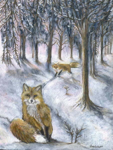 Wall Art - Painting - Foxes In Snow by Angel Ciesniarska