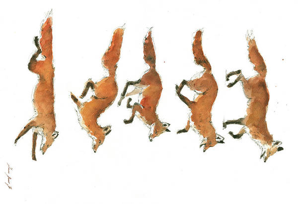 Wall Art - Painting - Foxes by Juan Bosco