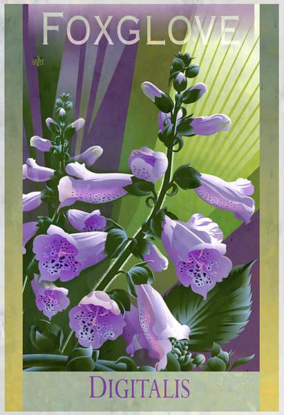 Foxglove Wall Art - Painting - Foxglove Digitalis Floral Poster by Garth Glazier