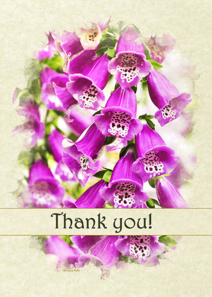 Photograph - Foxglove Flowers Thank You Card by Christina Rollo