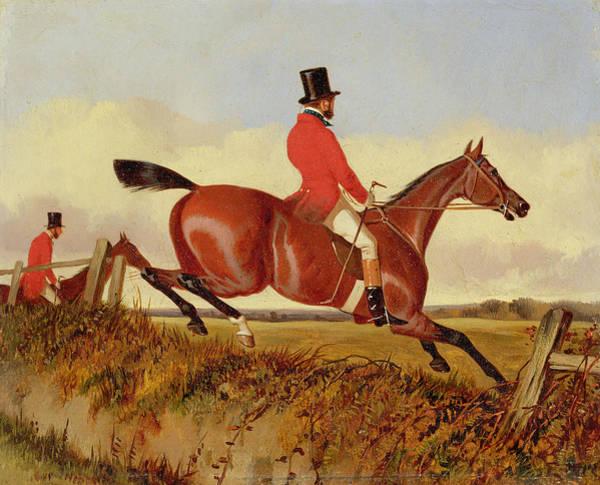 Foxhunting - Clearing A Bank Art Print