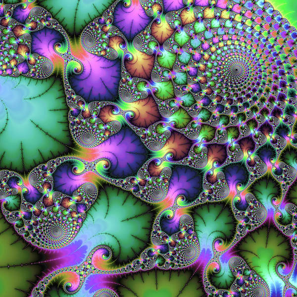 Digital Art - Fractal Floral Spirals Jewel Colored Green Purple Gold by Matthias Hauser