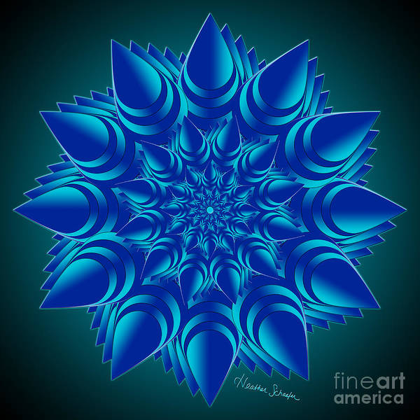 Digital Art - Fractal Flower In Blue by Heather Schaefer