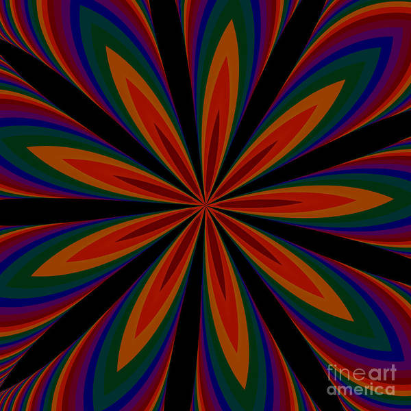 Digital Art - Fractalscope Flower 11 In Orange Green Purple And Black by Rose Santuci-Sofranko