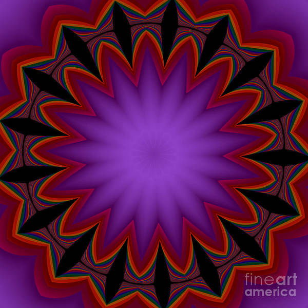 Digital Art - Fractalscope Flower 7 In Purple Violet Orange And Black by Rose Santuci-Sofranko
