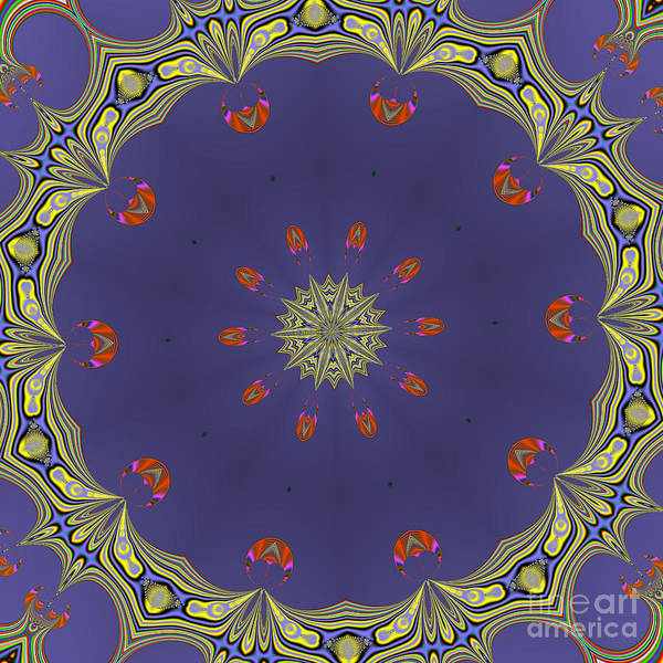 Digital Art - Fractalscope Flower 8 In Yellow Blue And Orange by Rose Santuci-Sofranko