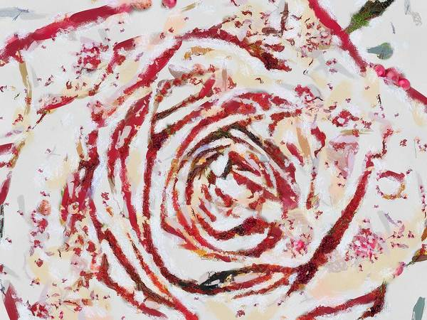 Digital Art - Fragmented Rose Hot Pink by Catherine Lott