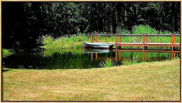 Photograph - Framed Canvas Boat And Catwalk by Jerry Sodorff