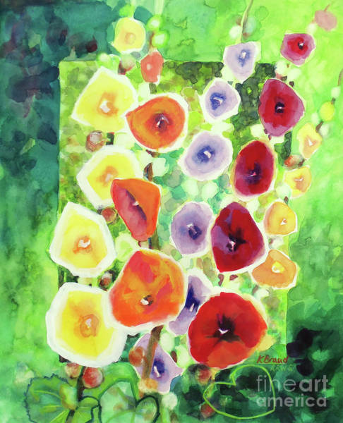 Wall Art - Painting - Framed In Hollyhocks by Kathy Braud