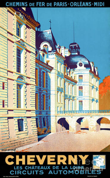 European Vacation Mixed Media - France Cheverny Restored Vintage Travel Poster by Vintage Treasure