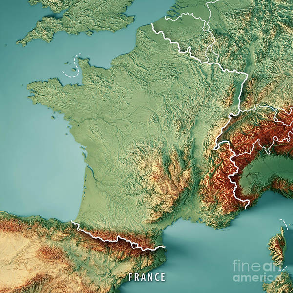 Wall Art - Digital Art - France Country 3d Render Topographic Map Border by Frank Ramspott