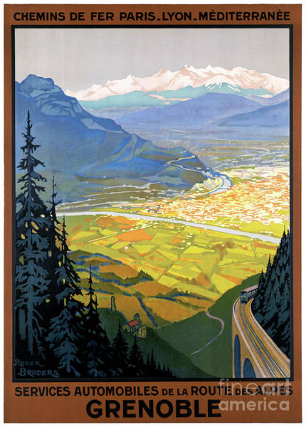 European Vacation Mixed Media - France Grenoble Restored Vintage Travel Poster by Vintage Treasure