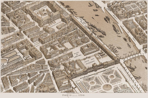 Photograph - France: Map Of Paris, 1730 by Granger