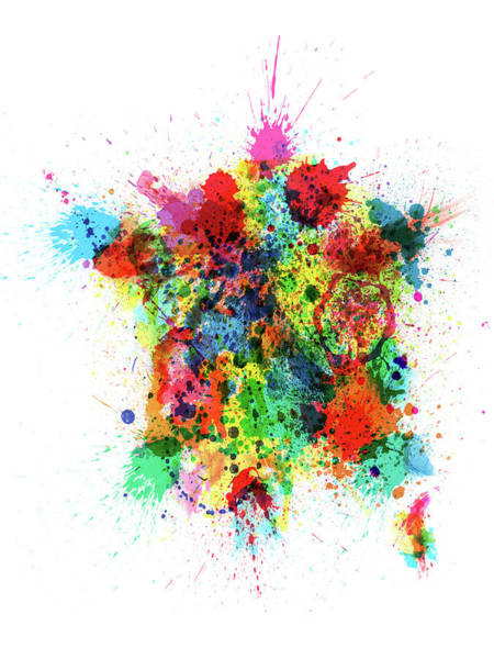 Digital Art - France Map Paint Splashes by Michael Tompsett