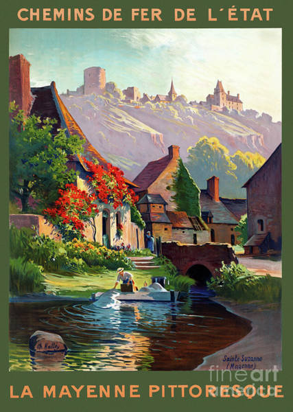 European Vacation Mixed Media - France Mayenne Restored Vintage Travel Poster by Vintage Treasure